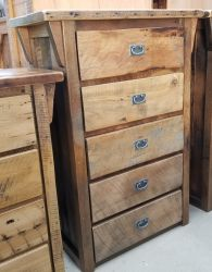 Deluxe Oak Barnwood 5 Drawer Chest